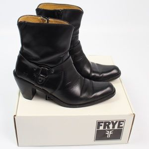 Frye Romy Ring black leather ankle boots harness